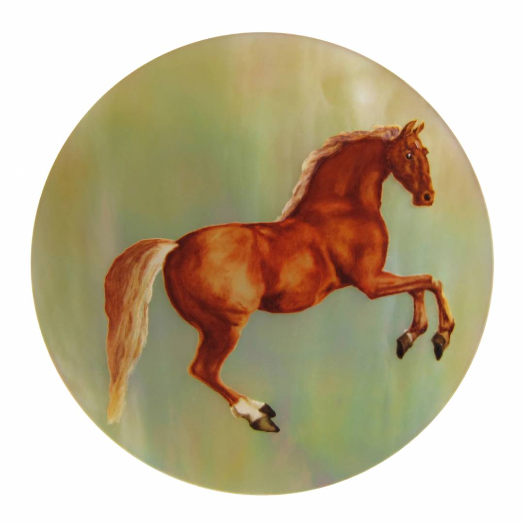 peinture miniature, micro peinture cheval peint sur nacre - Manufacto