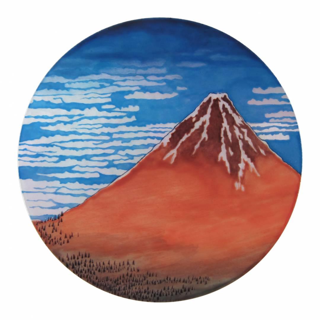 peinture miniature, micro peinture sur nacre, mont fuji - Manufacto